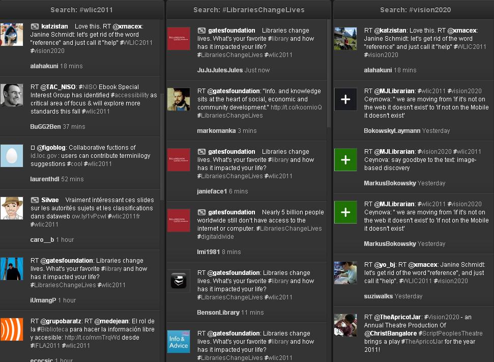 Ansicht der Twitter-Suchen #wlic2011, #librarieschangelives und #vision2020